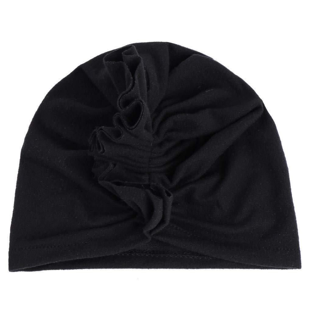 Unisex Baby Kids Turban Hat Muslim Bowknot Elastic Headband Hijab Cap Headgear Black