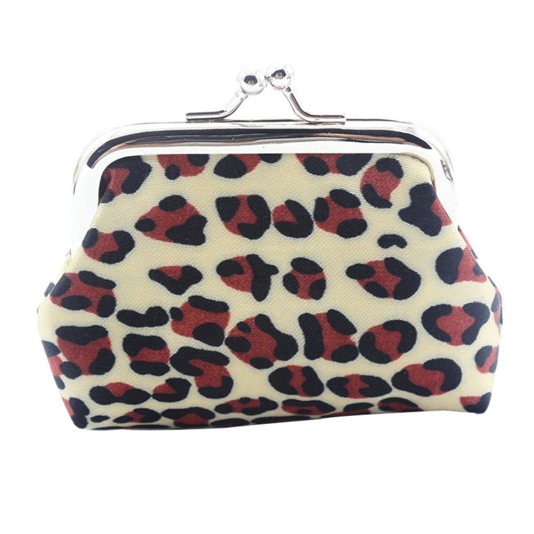 DZT1968® Women Leopard Print Mini Coin Purse Bag Wallet (D)