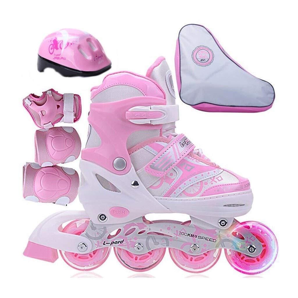 スケートの子供の初心者のローラーの靴、照らさホイール、男の子と女の子のインライン調節可能なサイズのコードのローラースケート (Color : B, Size : M(EU 34-37)) B M(EU 34- 37 )