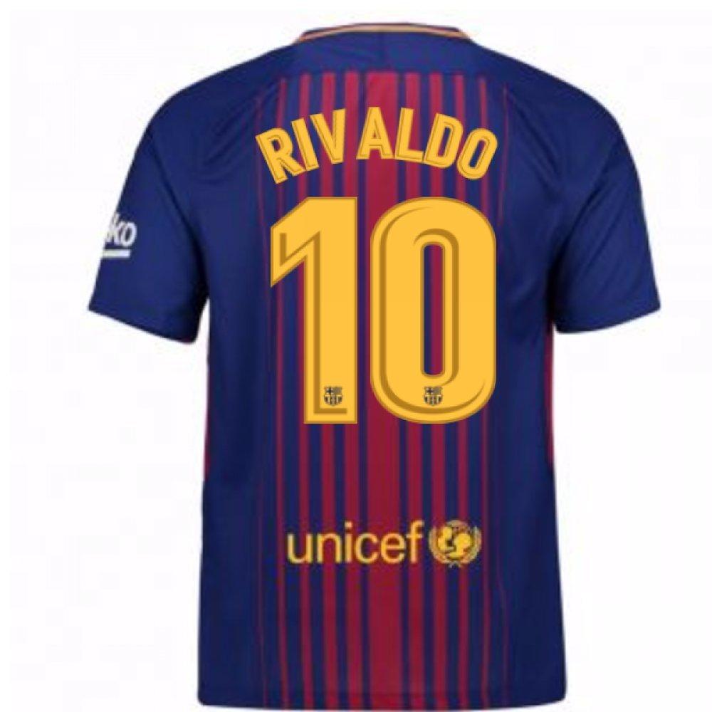 2017-2018 Barcelona Home Football Soccer T-Shirt Trikot (Rivaldo 10)