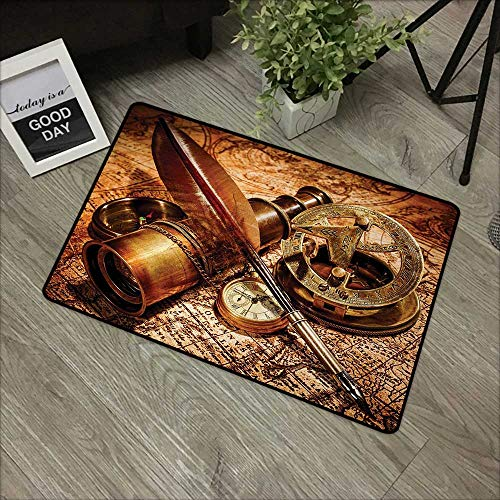 Printed Door mat W31 x L47 INCH Antique,Compass Goose Quill Pen Spyglass and a Pocket Watch Lying on an Old Map Print,Orange Brown Non-Slip, with Non-Slip Backing,Non-Slip Door Mat Carpet