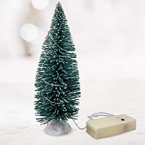 Christmas Village Accessories.Christmas Village Accessories 9 Inch Tree With Led Slow Color Changing Lights Table Top Bottle Brush Trees Lighted Green Pine Branches And