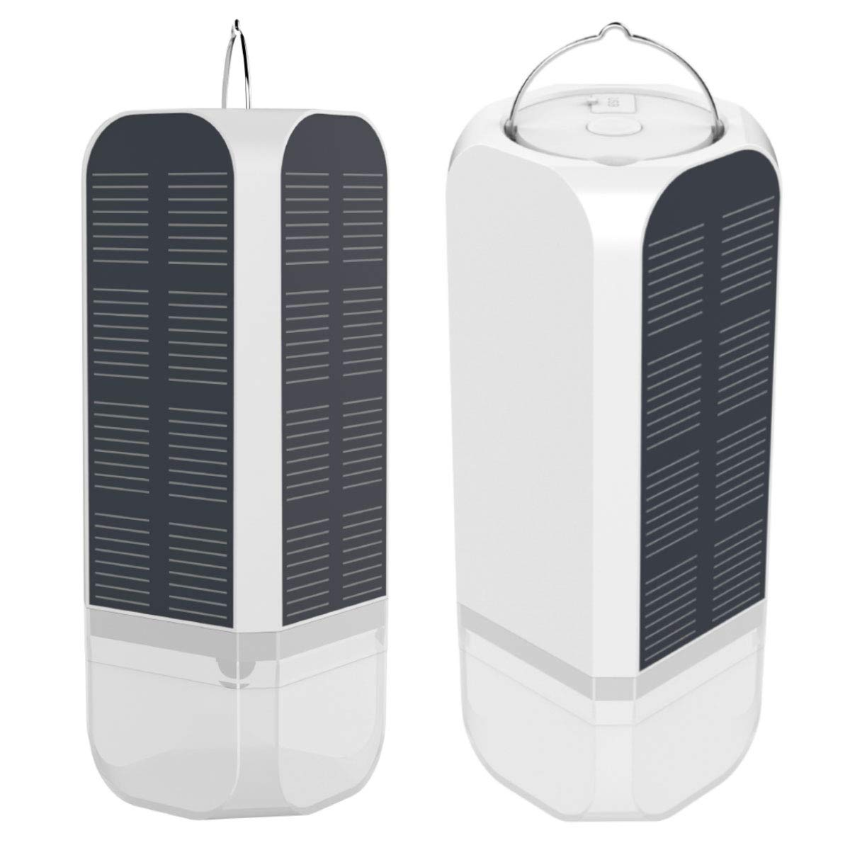 Mikimiqi Solar Camping Emergency LED Lantern Outdoor Camping Gear Hanging Portable Table Lamp with USB and Smart Solar Emergency Light Panel, White Light