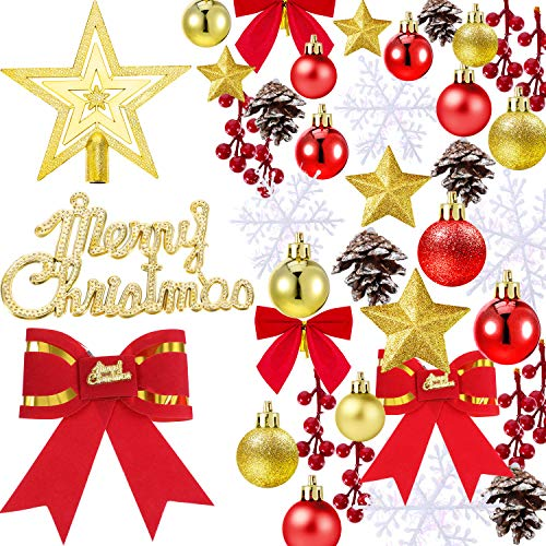 Tatuo 91 Pieces Christmas Tree Ornaments Bauble Christmas Ornaments Assortment for Christmas Tree Wreath -