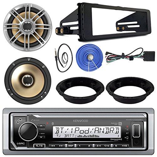"""Kenwood Marine Receiver, Polk Audio 6.5"""" Marine Speakers(Pair), Enrock Mounting Ring for 6.5"""" Speaker, SDIN Install Kit (Black), Enrock Antenna - 22"""", 50ft 14 AWG Speaker Wire"""