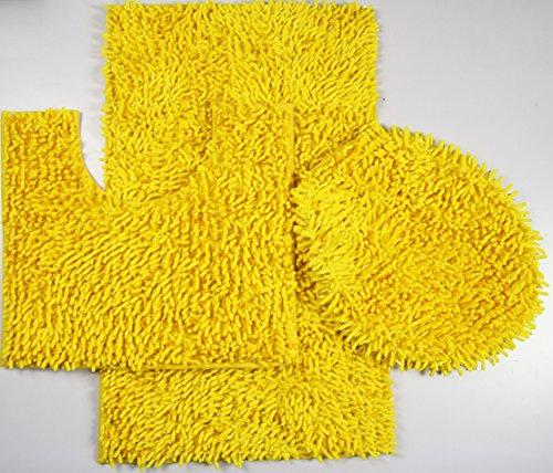 3 Piece Ultra Soft Microfiber Mixed Shiny Chenille Bath Mats Set Large Mat 19.5