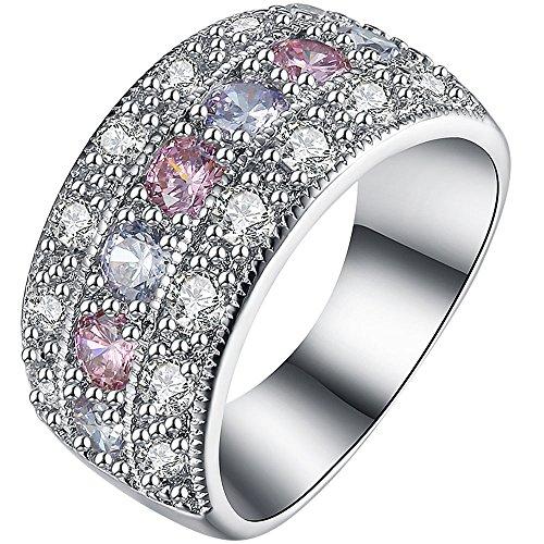 AWLY Jewelry Women 18K White Gold Round 2 Tone Cubic Zirconia CZ Three-Row Half Eternity Wedding Ring Size (18k White Gold 3 Row)