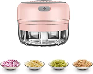 Electric Mini Garlic Chopper Portable Food Meat Dicers, Wireless Slicer Spice Grinder Rechargeable Mincer Blender Mixer, Kitchen Gadget Masher for Onion Chili Pepper (100ML)
