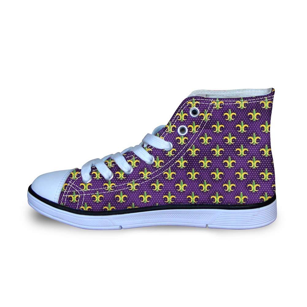 Canvas High Top Sneaker Casual Skate Shoe Boys Girls Mardi Gras Colors Purple Fleur-de-lis