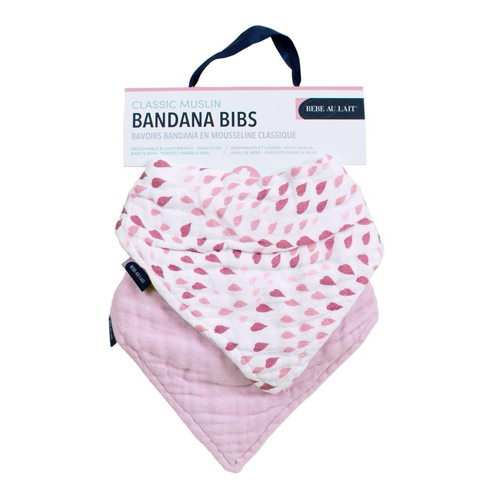 Pink Cotton Muslin Petal Baby Bandana Bib Gift Set Bebe au Lait Rose Quartz
