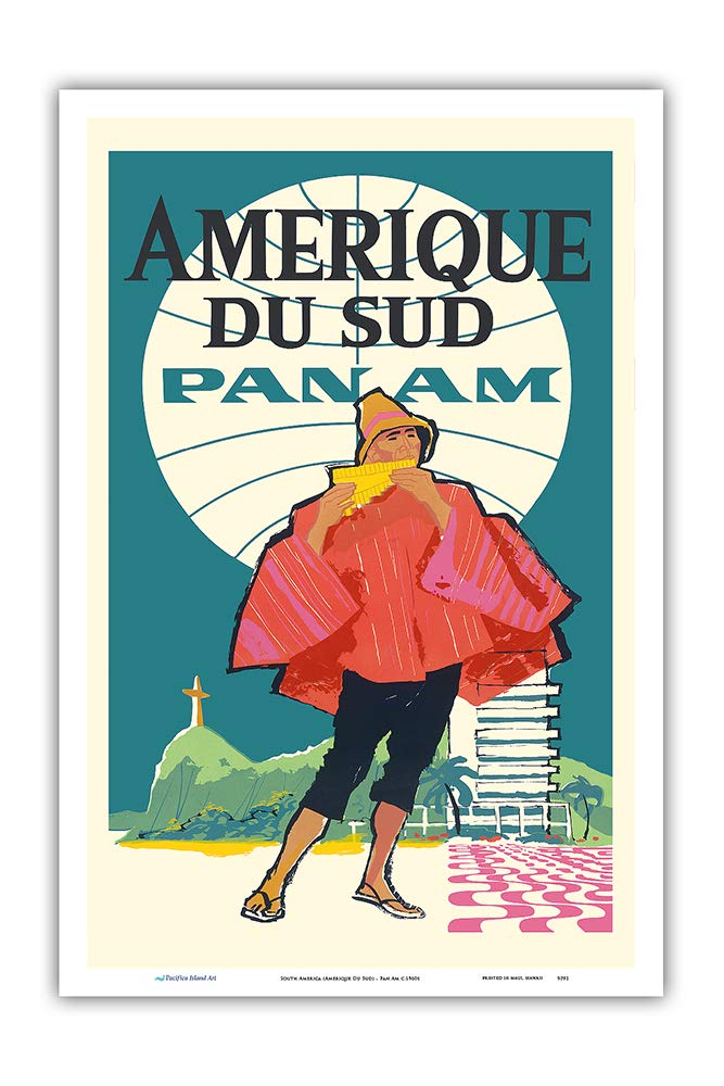 - Pan American World Airways Pacifica Island Art Amerique Du Sud Vintage Airline Travel Poster c.1960s Master Art Print 12in x 18in South America