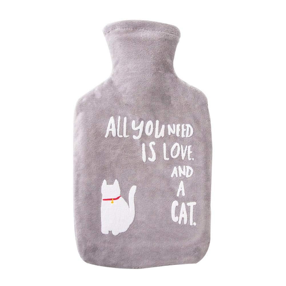 2 Liter Hot Water Bottle Water Heating Bag, Hand Warmer Rubber Bottle Plush Cover iBaste_S