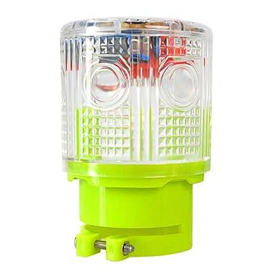 Aolyty Solar Strobe Warning Light 360 Degree Super Bright Waterproof IP48 for Construction Traffic Dock Marine Wireless Light Control Flashing (White): Automotive