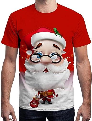 Navidad Camiseta Hombre Invierno Unisex Manga Corta 3D Santa ...