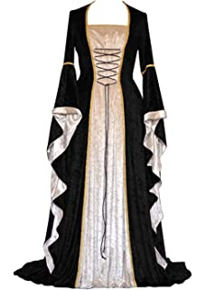 YEAXLUD Womens Renaissance Medieval Costume Dress Lace up Irish Over Long Dresses Cosplay Retro Gown