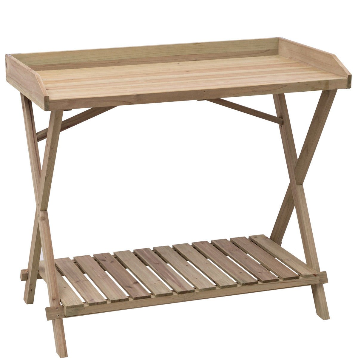 billionese Table Wood Potting Bench Console Serving Workstation Shelf Display Patio Outdoor
