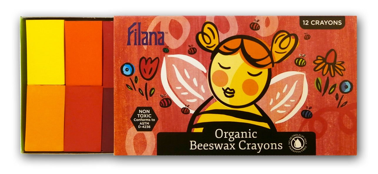 FILANA (12 Block Crayons) Certified Organic Beeswax - Handmade in The USA - no Paraffin Waxes - Good Earth Good Bees