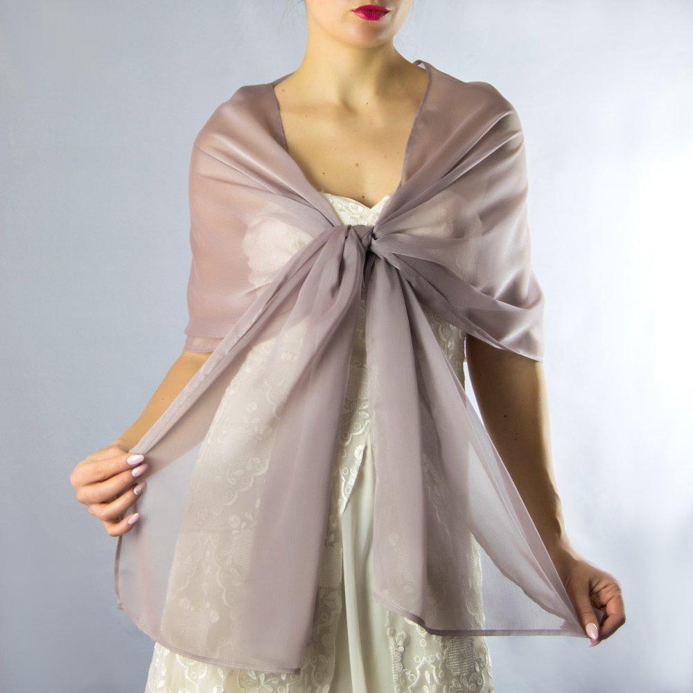 Chal chiffon color rosa gris beige novia boda novia para vestido de fiesta: Amazon.es: Handmade