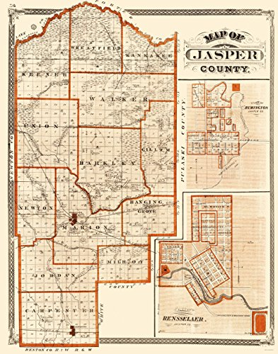Old County Maps - JASPER COUNTY INDIANA (IN) BY BASKIN FORSTER & (1876 Indiana Map)