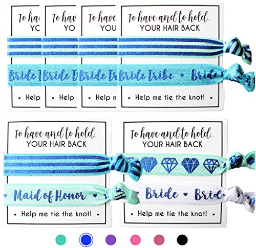Set of Bride Tribe Hair Ties - to Have and to Hold Your Hair Back - Help Me Tie The Knot - Bachelorette, Wedding Shower, Party Favors for Bridesmaids (6 x 2pc Set, Blue)