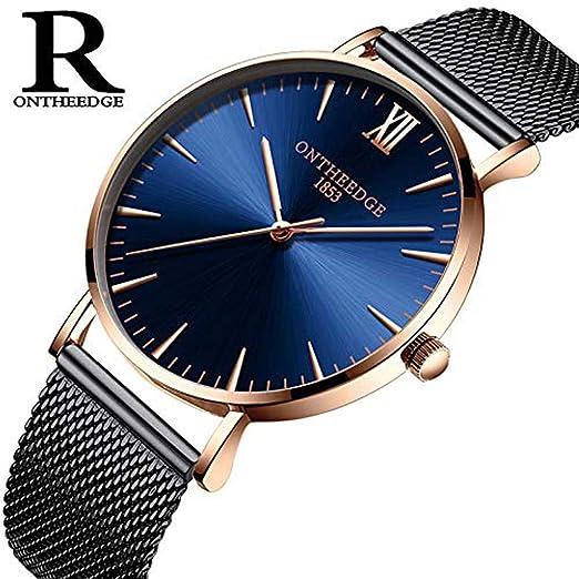 Hermosos Relojes Hombres Net con Cuarzo Reloj de Hombre Ultra Thin Watch: Amazon.es: Relojes