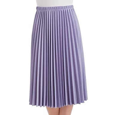 d04347ad1 Women's Classic Pleated Mid-Length Jersey Knit Midi Skirt with Comfortable  Elastic Waistband, Lilac
