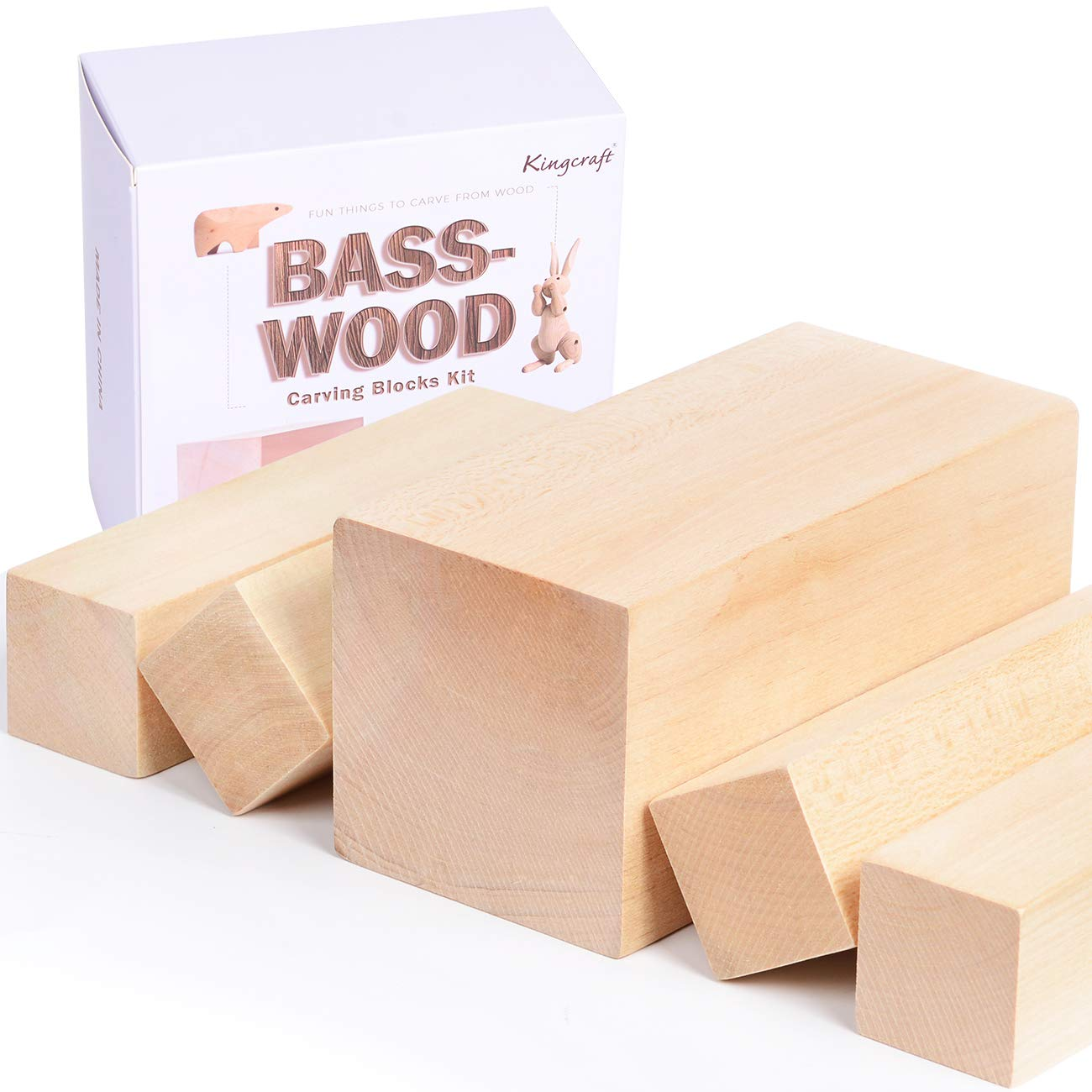 KINGCRAFT 5 Pack Extra Large Basswood Carving Blocks Soft Solid Wooden Whittling Kit for Whittler Starter Kids