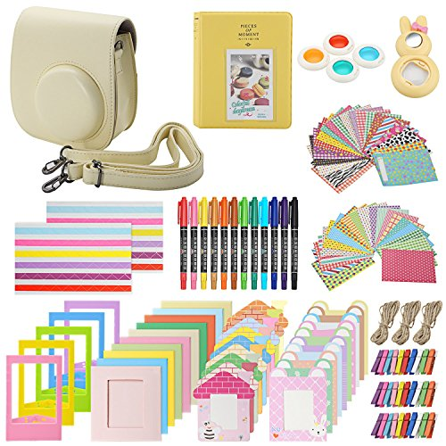 Xpix Accessory Kit for Fujifilm Instax Mini 8, 8+ & 9 Includes, (Yellow) Case, Album, Selfie Mirror, Colored Close up Lenses, 40 Film Frames, 12 Color Markers & Complete Bundle
