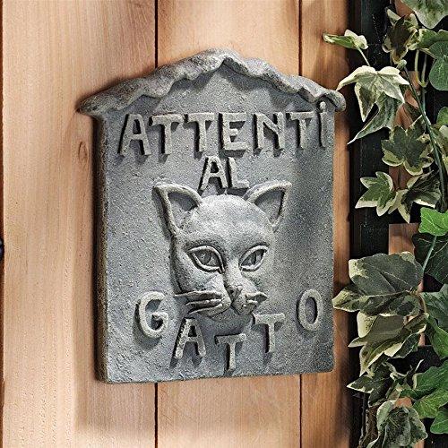 """Design Toscano Beware of Cat Italian """"Attenti al Gatto"""" Garden Sign -  NG31604"""