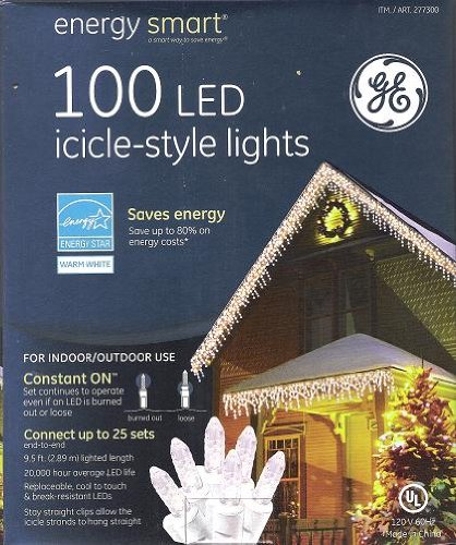 100 Led Icicle Style Lights Ge