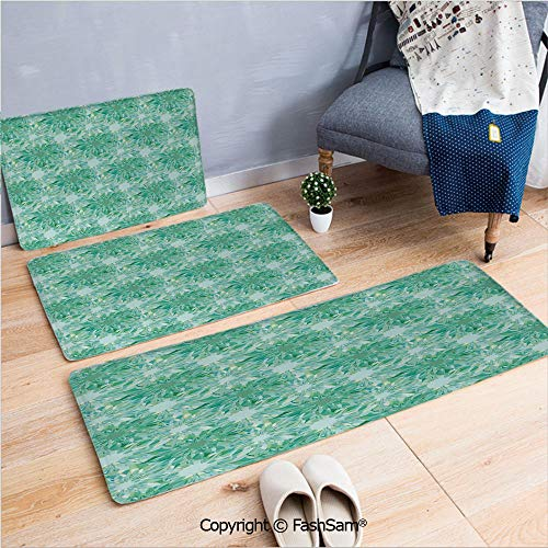 (FashSam 3 Piece Flannel Doormat Floral Pattern with Beryl Crystal Guilloche Flowers Carving Art Decorating Image Print for Kitchen Rugs Carpet(W15.7xL23.6 by W19.6xL31.5 by W15.7xL39.4))