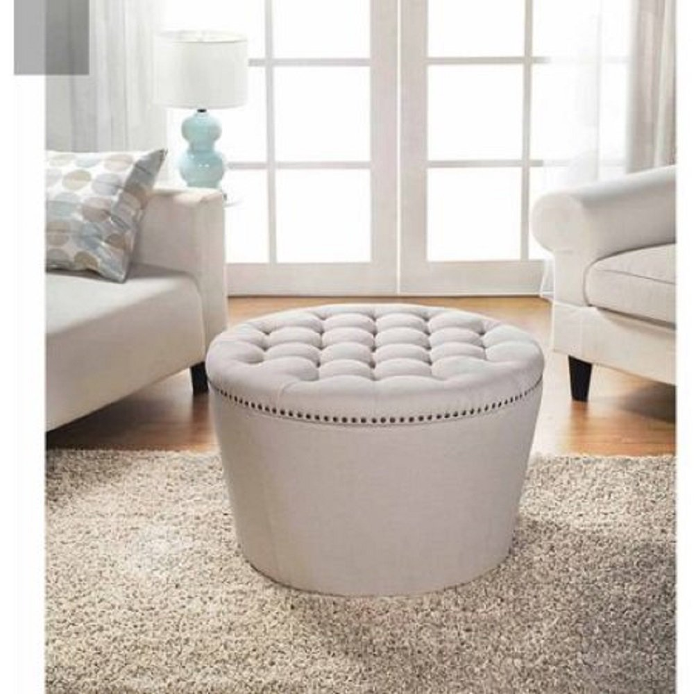 Amazon com better homes and gardens comfortable round tufted storage ottoman with nailheads cream kitchen dining