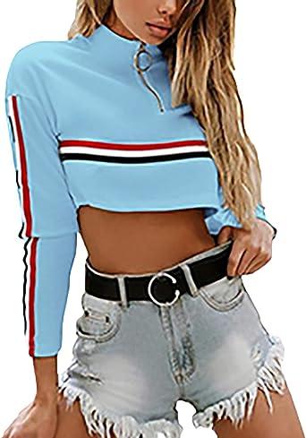 Crop Tops Mujer Camisa De Manga Larga O Cuello Sudaderas Jumper Flecos con Cremallera Niña Sweatshirts Moda Joven Primavera Casuales Mujeres Verano Tumblr Shirt Camisas Blusas Superiores: Amazon.es: Ropa y accesorios