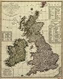 1801 Old Historical Map Of Great Britain England Ireland United Kingdom