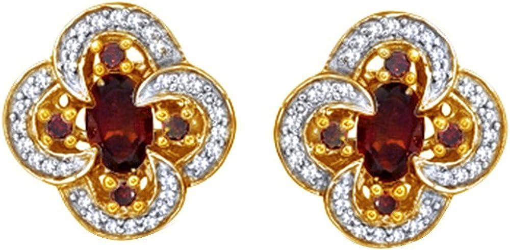 Blanco y rojo imitación de granate Natural Diamond Stud Pendientes para las mujeres y las niñas en plata de ley 925(0,33quilates)