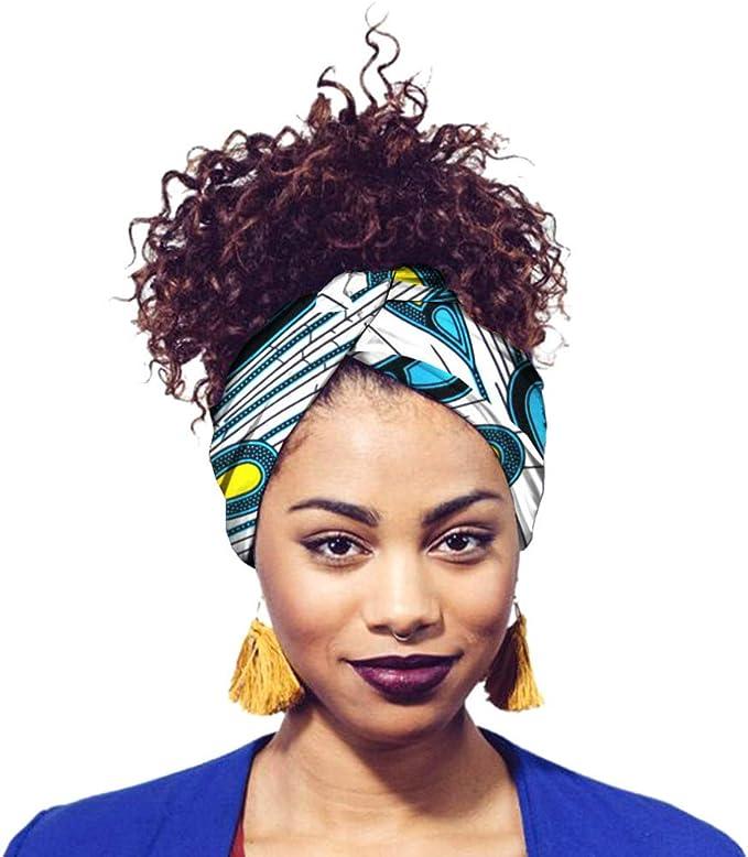 Yijinstyle Damen Afrikanischen Muster Bedruckte Kopftuch Atmungsaktiv Wrap Turban Kopfbedeckung Kopf Wickeln Schal Style#5, 50 * 180cm
