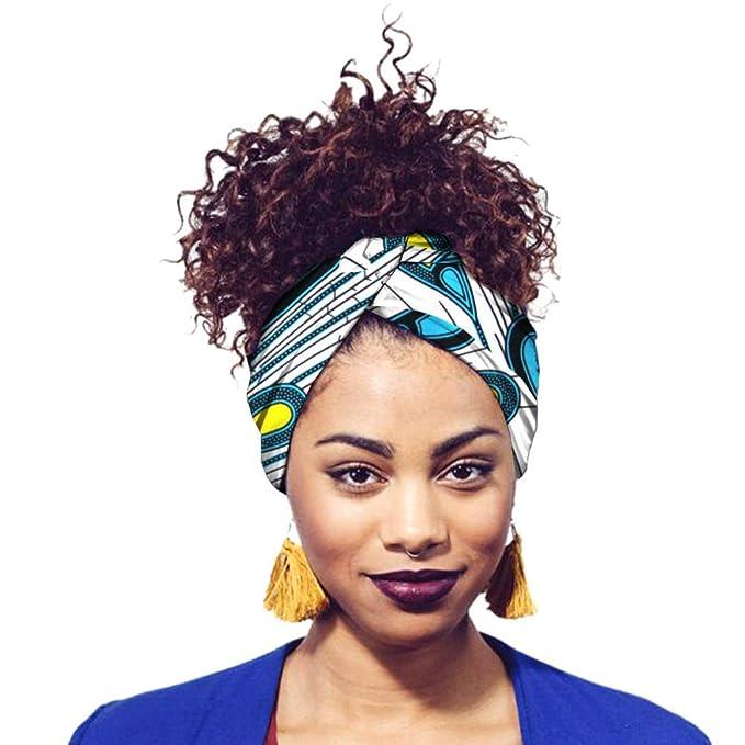 Yijinstyle Donne Cappello da Sonno Turbante Africana Sciarpa Avvolge Testa Boho Turbante Elastico Annodato