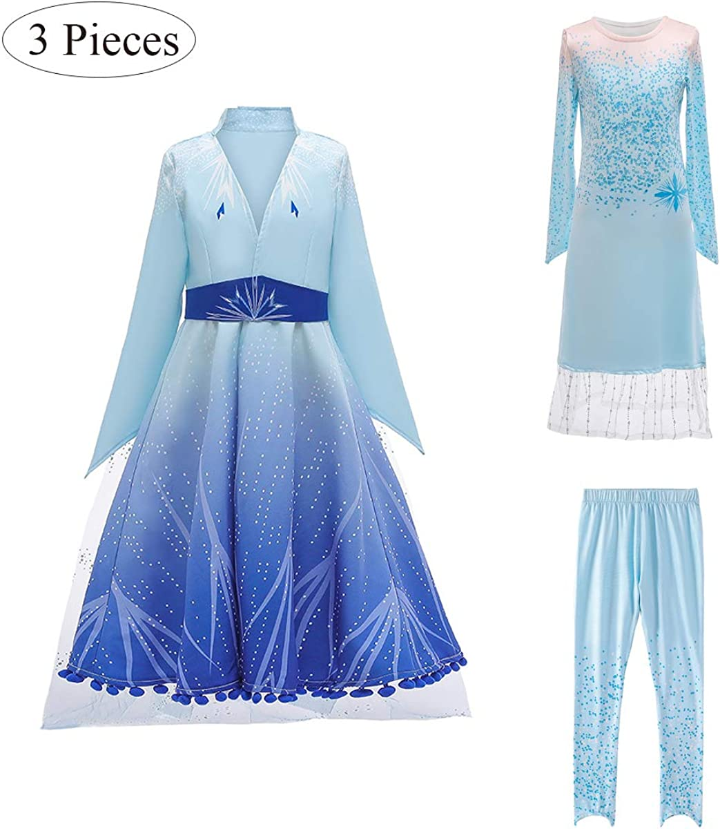 Girls Frozen Inspired Princess Elsa Anna Dress Up Party Costumes