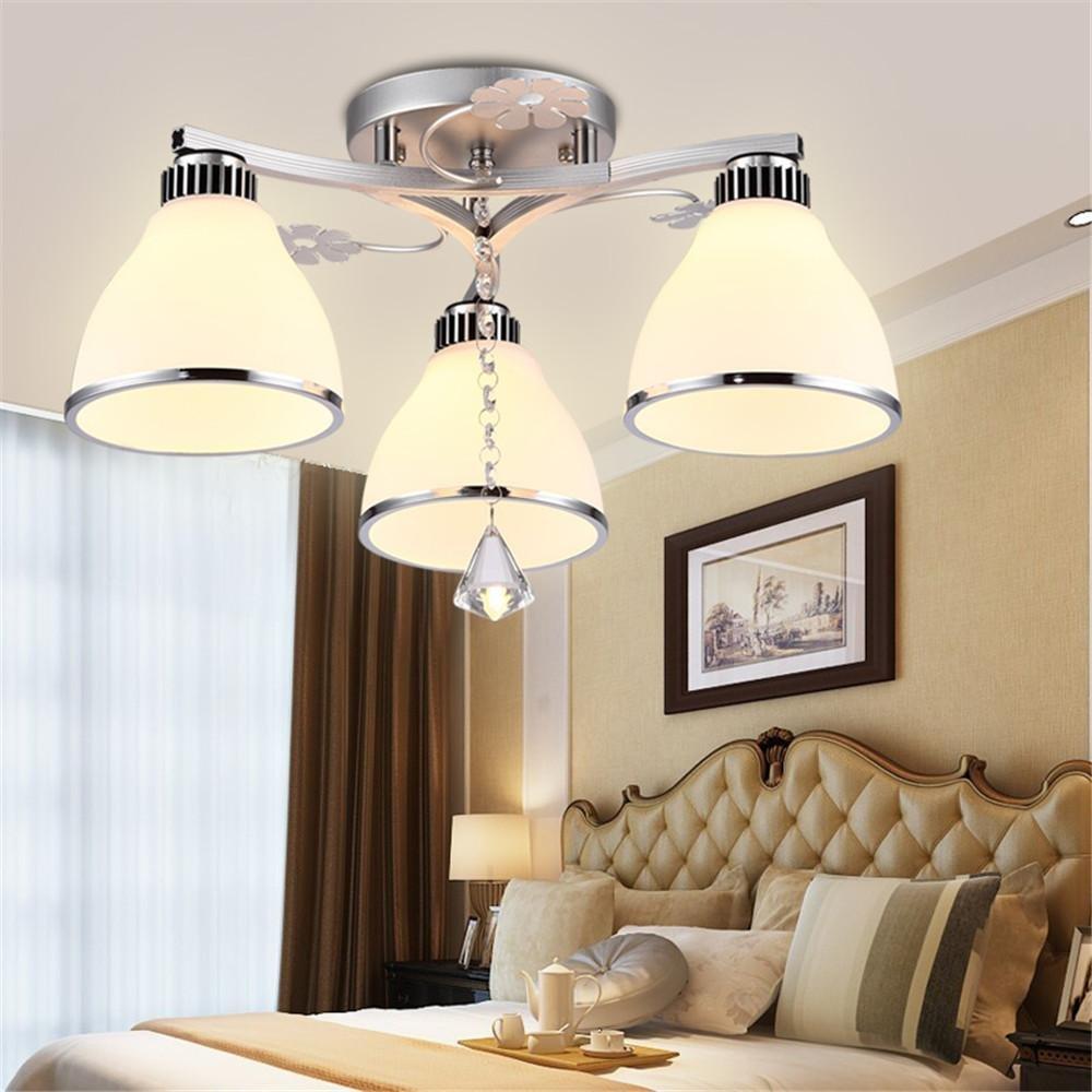 Modern Simple Living Room Bedroom Light Romantic Warm Child Light Creative Art Restaurant LED Ceiling Light, 3 head by Chandeliers