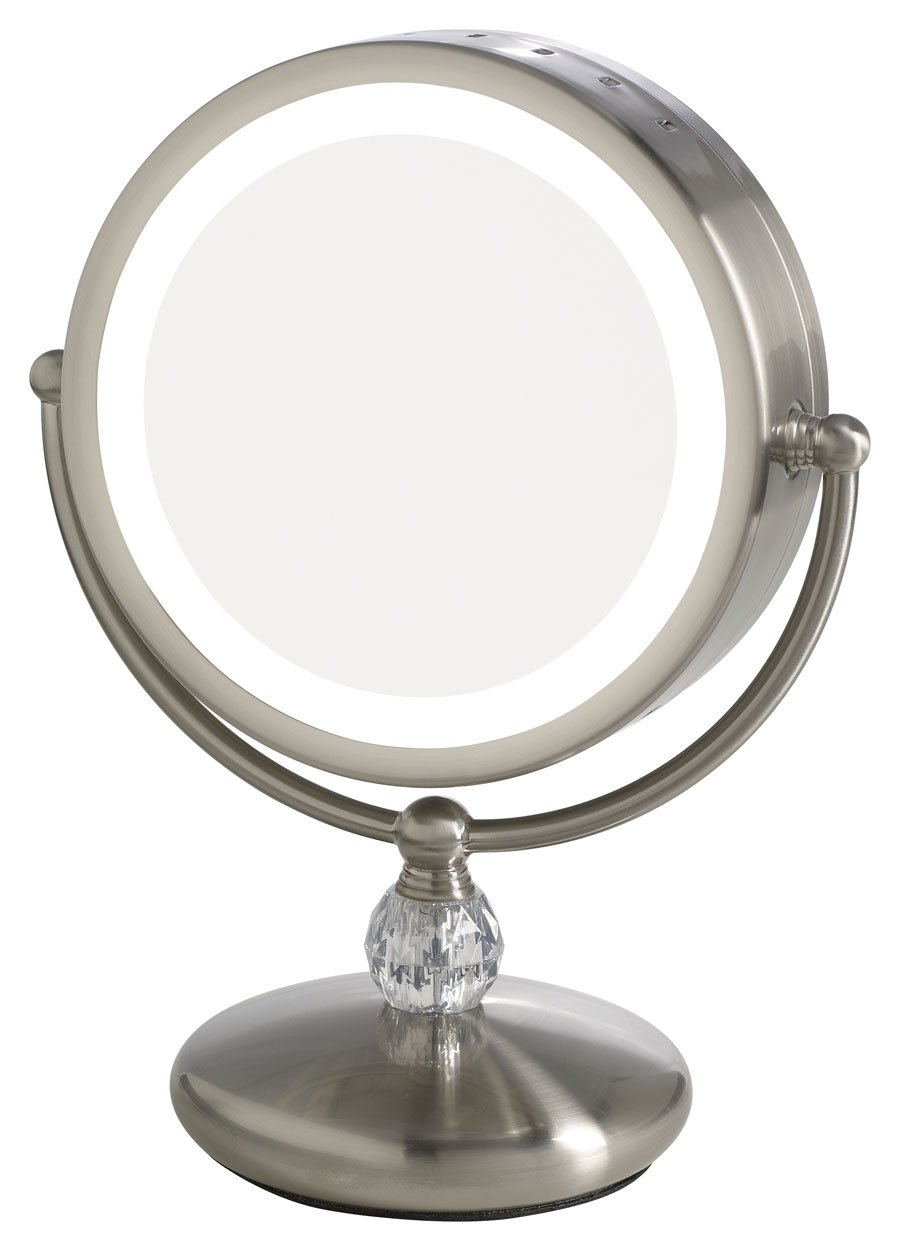 Elizabeth_Arden 1x/10X Magnification Lighted Makeup Vanity Counter-Top Mirror w/Touch Screen Control and Adjustable 360-Degree Rotation