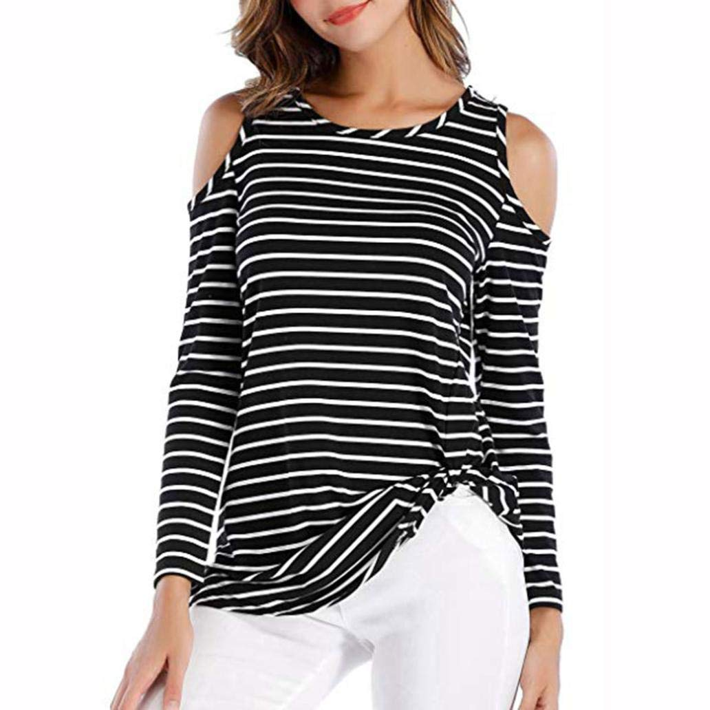 Orangeskycn Clearance Sale Womens Casual Shirts Striped Printing Button Down Tunic Tops