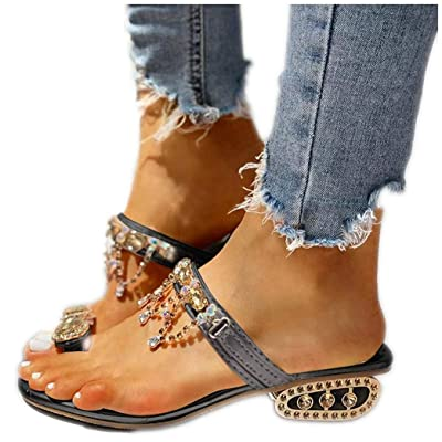 Fudule Sandals for Women Comfy Crystal Thick Heel Sandal Summer Beach Party Shoes Ladies Fashion Flip Flops Slippers: Clothing