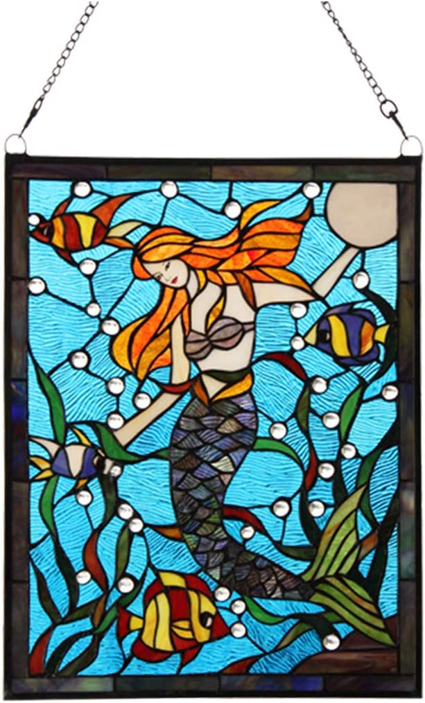 Stained Glass Panel – Ambrosia Demi-Lune Stained Glass Window Hangings – Window Treatments