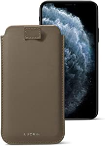 Lucrin - Pull Tab Slim Sleeve Case Compatible with iPhone 11 Pro/iPhone Xs/iPhone X and Wireless Charging - Dark Taupe - Genuine Leather