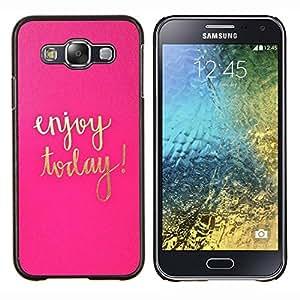 LECELL--Funda protectora / Cubierta / Piel For Samsung Galaxy E5 E500 -- Hoy texto motivación oro rosa --