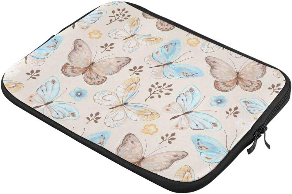 Colorful Butterfly Florals Laptop Sleeve Case 15 15.6 Inch Briefcase Cover Protective Notebook Laptop Bag