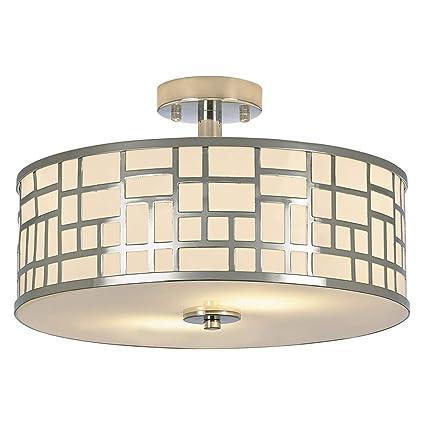 SOTTAE 2 Lights Elegant Modern Chrome Finish Glass Diffuser Livingroom  Bedroom Flush Mount Ceiling Light,Led Ceiling Light Fixture(15.74\
