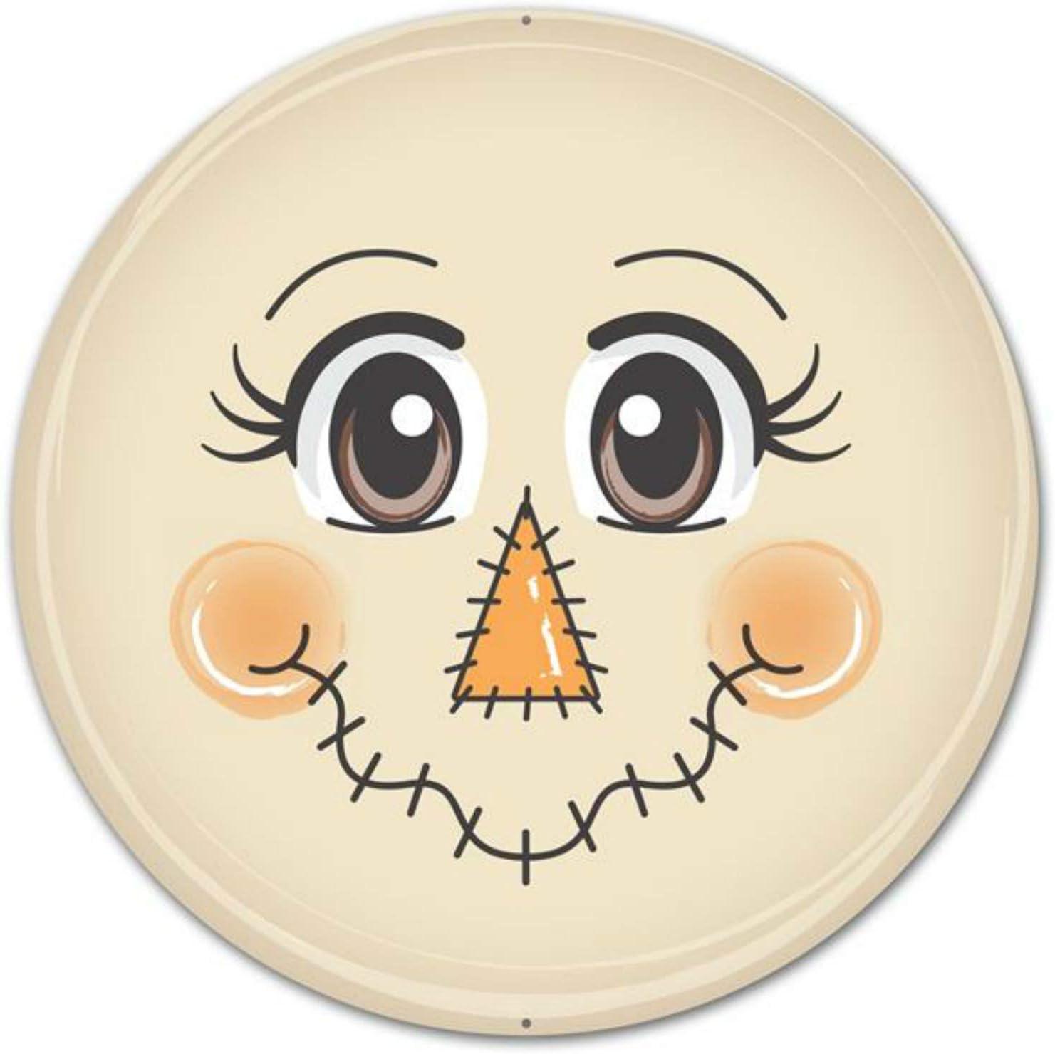 Craig Bachman 12 Metal Face Sign Scarecrow Autumn Fall Scarecrow Face Round Metal Sign Md0325 Amazon Ca Home Kitchen