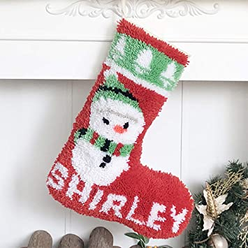 Beyond Your Thoughts Latch Hook Kits DIY Christmas Stockings with Pattern Printed Shaggy Decoration Christmas Ornament Bag for Family-Christmas EIK