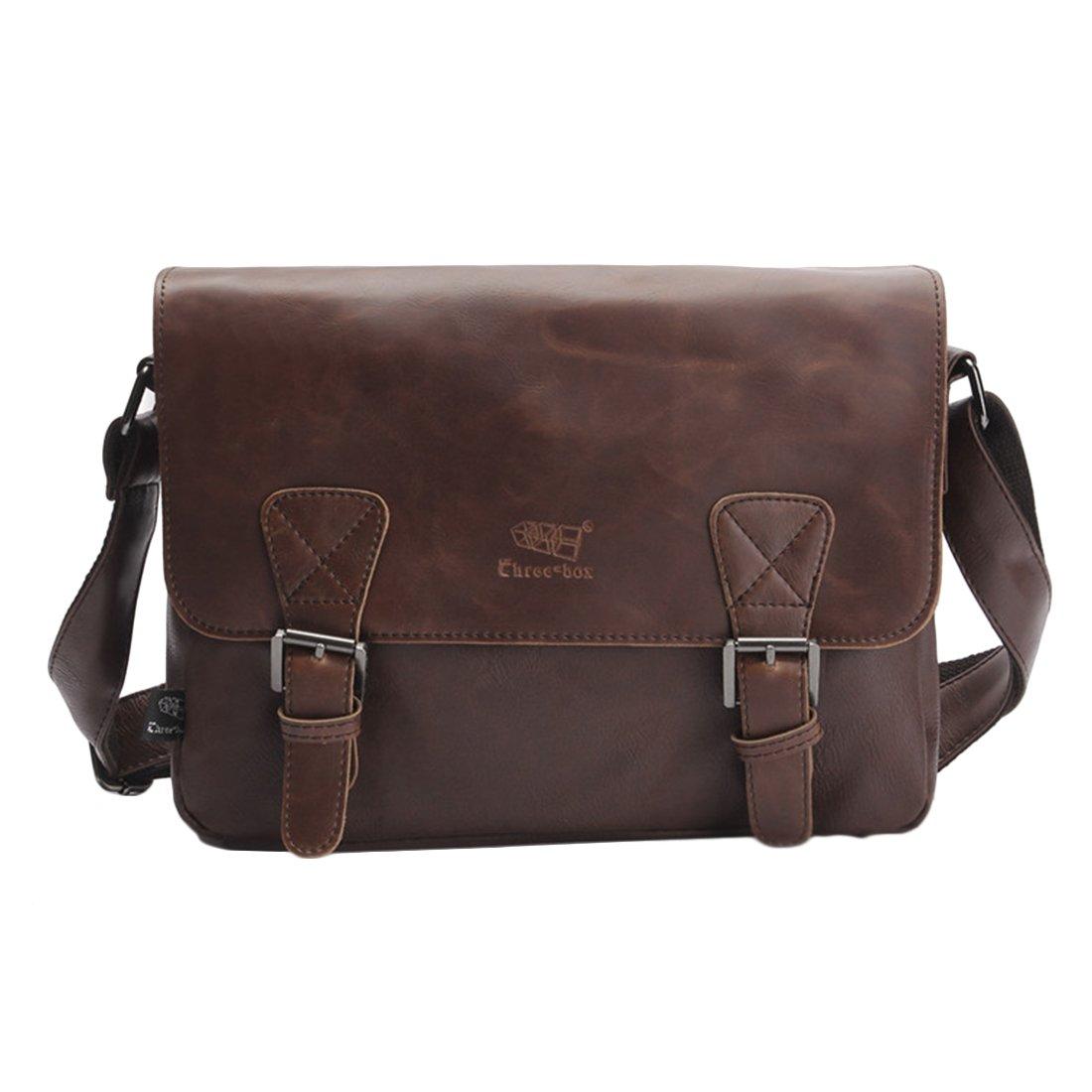 Foxom Messenger Shoulder Bag PU Leather for Men Vintage College Gifts Ideas - Dark Coffee